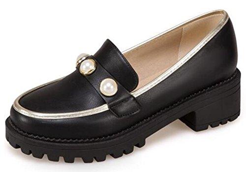 Mofri Women's Stylish Studded Round Toe Low Block Heel Platform Slip on Loafers Shoes (Black, 4 B(M) US) by Mofri
