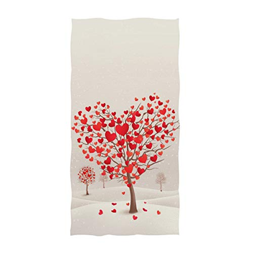 Naanle Fashion Heart Shaped Trees Print Mother's Day Valentine's Day Wedding Soft Guest Hand Towels Multipurpose for Bathroom, Hotel, Gym and Spa (16