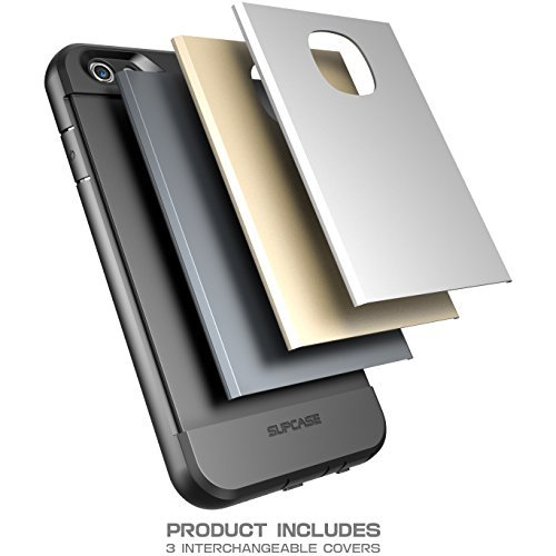 Étui résistant pour iPhone 6/6S avec protecteur d'écran et 3 coques interchangeables (gris foncé/argent/doré), résistant à l'eau, conception double couche, absorbeur de chocs