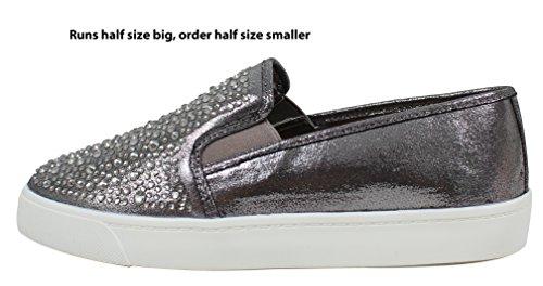 Soda Womens Shimmer Rhinestone Dress Sneaker Pewter