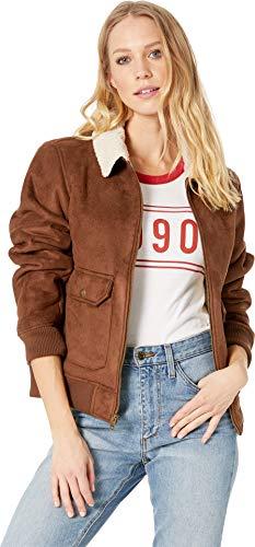 - Levi's Women's Faux Leather Sherpa Aviator Bomber Jacket, Cognac, Medium