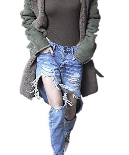EMIN Damen BoyfriendJeanshose Mittelre Taille Lose Jeanshose Detail Fitness Hose mit löcher Loch