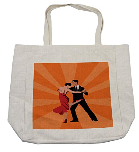 Lunarable Argentina Shopping Bag, Minimal Design Couple Performing Tango Dance International Tango Day Concept, Eco-Friendly Reusable Bag for Groceries Beach Travel School & More, Cream