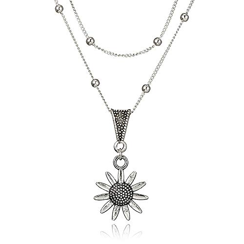 Thenxin Double Layering Dainty Chain Sunflower Pendant Choker Necklace,Multi-Layer Flower Clavicle Chain for Women (Grey)