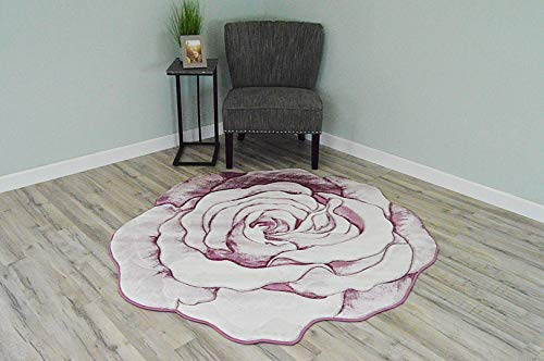 (Flowers 3D Effect Hand Carved Thick Artistic Floral Flower Rose Botanical Shape Area Rug Design 304 Pink 6'6''x6'6'' Round)