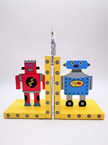 YEEMAX Robot Wood Bookends for Boys and Girls Birthday Gift - Nursery and Children's Books (Set of 2) ()