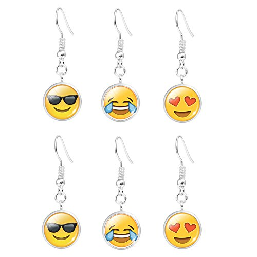 Emoji Face Earrings Set – Assorted Amusing Smiley Emoticon Dangle Gift Earrings B
