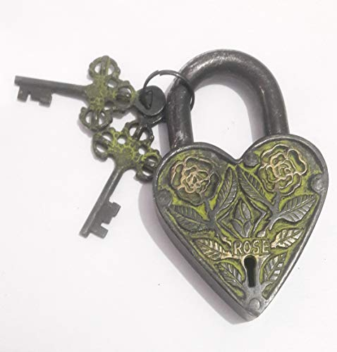 Heart-Shape Padlock with 2 Skeleton Keys Fully Functional with 2 Keys - Gym Lock, Combination Locks for Gates, Toolbox, Luggage, Cabinet, Bicycle, School, Home, Office, Travel (Rose-Antique)