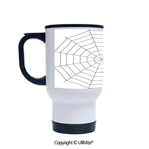 Stylish Stainless Steel Attractive And Distinctive Design 14OZ Travel Mug Cup Toxic Poisonous Insect Thread Crawly Malicious Bug Halloween Character Design Decorative,Black White Suitable For Hot And]()