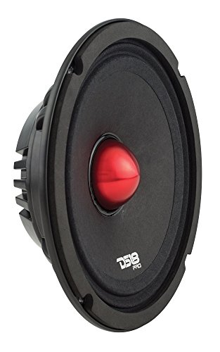 "DS18 PRO-NEO8SLIM Shallow Loudspeaker- 8"", Midrange, Red Aluminum Bullet, 500W Max, 250W RMS, 4 Ohms, Neodymium Magnet - The Most Elegant Neodymium Midrange Loudspeakers Available"