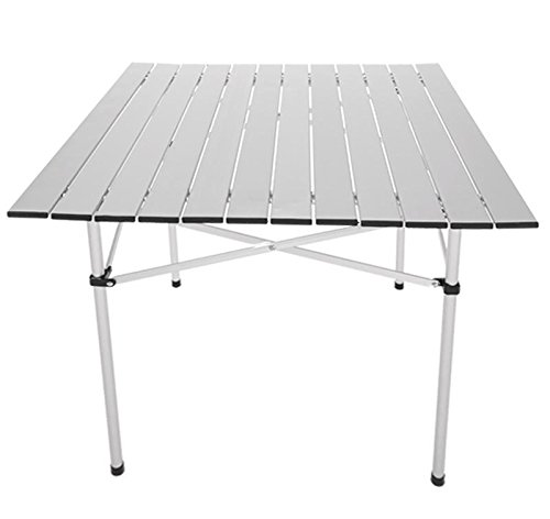 (Foshin Camping Outdoor Roll Up Table Aluminum Alloy Portable Folding Fishing Picnic Square Table)