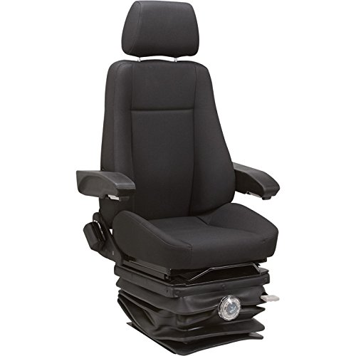 K & M Mechanical Suspension Seat for Excavators - Black, Model# 8036