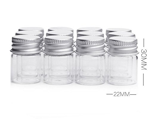 Frasco de cristal transparente de 5 ml con tapa enroscable de aluminio, tarros de muestra vacíos para mensajes en botella, recordatorios de boda y regalos, ...