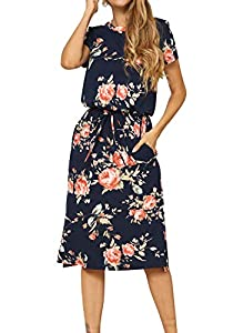 Simier Fariry Women's Floral Short Sleeve Casual Pockets Midi Dress