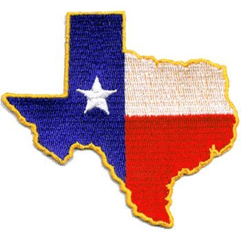 UPC 768117284682, Texas State Shaped iron-on embroidered patch