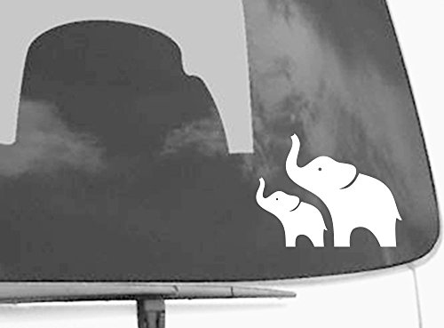 2 White Elephants Car Decal - Macbook Decal - Removable Viny