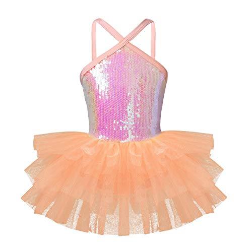 Dance Leotard Halter (iEFiEL Girls Camisole Sequins Ballet Tutu Dress Gymnastic Dance Leotard Skirt Dancewear Costume Orange Halter 6)