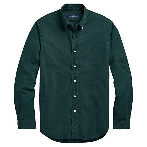 Down Sports Oxford Button Shirt - RALPH LAUREN Men Solid Sport Oxford Shirt (XXL, CollegeGreen)