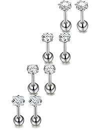 ORAZIO 8Pcs 18G Stainless Steel Stud Earrings Piercing Barbell Studs Cartilage Helix Ear Piercing CZ Inlaid