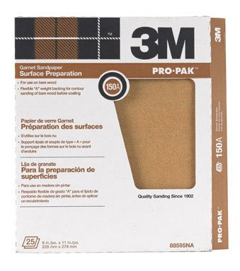 3m Garnet Paper Sheets 150 A 9'' X 11'' Bare Wood by 3M