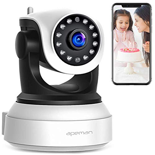 【New Version】 APEMAN WiFi IP Camera 720P Wireless Home Security Surveillance Camera with Night Vision Baby Pet Monitor Motion Detection Two Way Audio by APEMAN