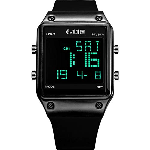Top Plaza Black Digital Sports Watch Silicone Band LED Screen Square Face...