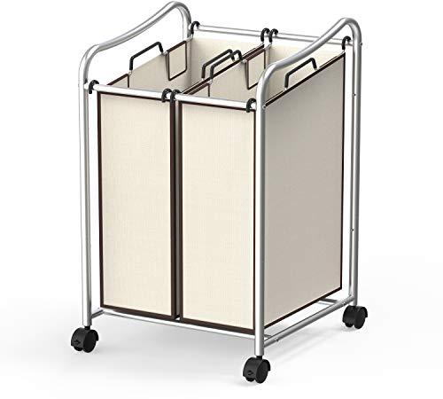 (Simple Houseware 2-Bag Heavy Duty Rolling Laundry Sorter Cart,)