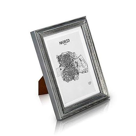 Marcos de Fotos 13x18 cm Vintage de Madera SÓLIDA - Shabby Chic Originales - Paquete de 3 - Paspartú para Foto 15x10 cm incluida - Frente de Vidrio ...