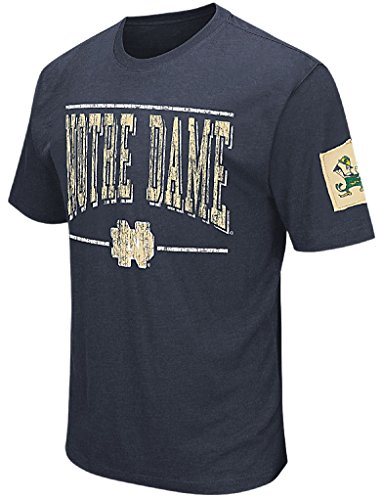 Notre Dame Fighting Irish Mens Blue Spare A Squarte Short Sleeve College Tee Shirt (Large) (Tee Mens Practice Short Sleeve)