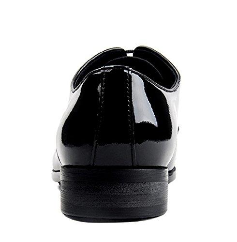 Insun Herren Klassisch Lackleder Oxford Schuhe Schwarz B