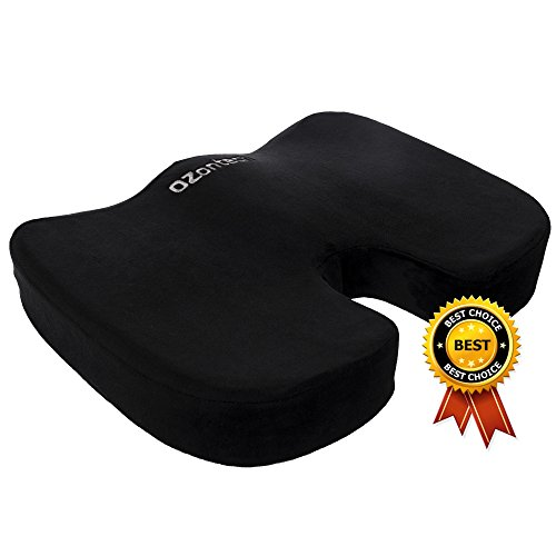 Seat Cushion Memory Foam - Soft. Orthopedically Designed for Sciatica - Coccyx - Tailbone - Lower Back Pain Relief. Ideal for Home - Office Chair - Wheelchair - Car. Non-Slip Bottom. Carrying Bag. by OZontech