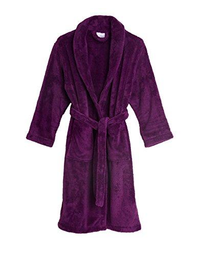- TowelSelections Little Girls' Robe, Kids Plush Shawl Fleece Bathrobe Size 4 Sparkling Grape