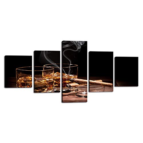 (Yatsen Bridge Wall Pictures for Living Room Modern Wine Paintings Whiskey with Cigar 5 Panel Posters and Prints on Canvas Home Decoration Framed Stretched Ready to Hang(50''Wx24''H))