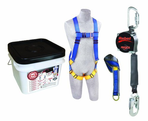 3M Protecta Compliance In A Can, 2199819, Roofers Kit, Full Body Harness, 6' Web Tie Off Adaptor, 8' Web Rebel Self Retracting Line, White Bucket by 3M Fall Protection Business