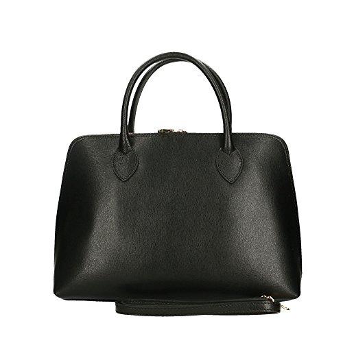 en fabriqué Aren femme en véritable italie à 37x27x12 sac Cm cuir main Noir Ww1SxgHA