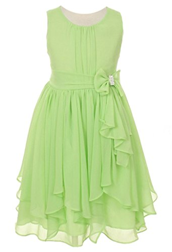iGirlDress Big Girls Yoryu Chiffon Flower Girl Dress 12 Lime Green (Lime Flower Girl)