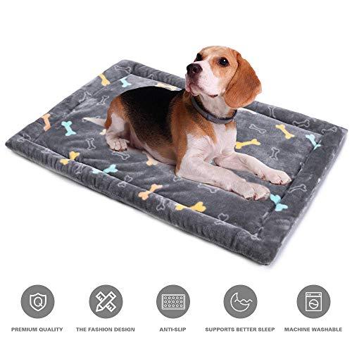 Allisandro Dog Bed Mat | Super Soft Anti-Slip Pet Crate Pad - Washable Dog Mattress for Dogs & Cats, Grey Bone L:33.4x22.8x4.7