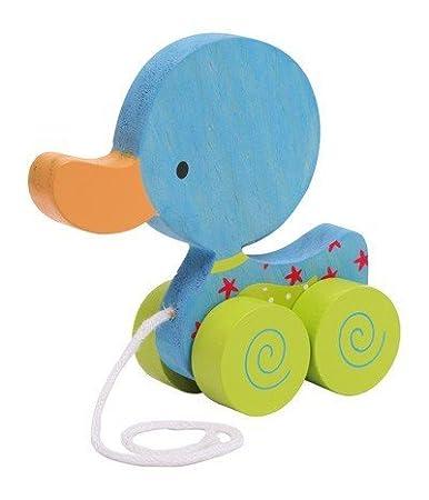 Nachziehtier Ente Nachziehente Ziehente fü r Kleinkinder aus Holz in der Farbe (blau) Small Foot Design
