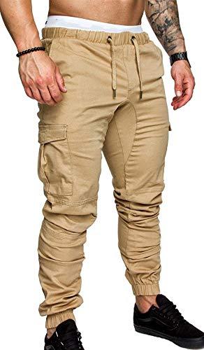 Lunghi Tinta Con Unita Kahki Tasche Multi Coulisse Completo Da Pantaloni A Pesanti Uomo E dx8zppw