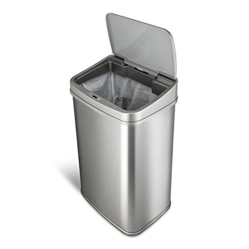 Ninestars Dzt-50-28SL Original Touchless Automatic Motion Sensor Trash Can, 13.2 Gallons/50 L, Silver (Silver Cross Base)