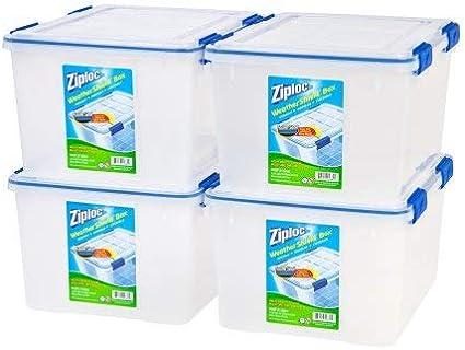 Clear//Pack of 4 Ziploc 44 Qt.//11 Gal WeatherShield Storage Box