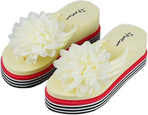 Bettyhome Kvinner Dame Jenter 2,36 Tommers Regnbueenkeltperson Blomster Thongs Komfortabel Uformelle Wedges Sandaler Stranden Flip Flops Tøfler Beige