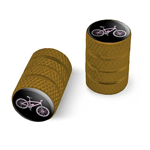 オートバイ自転車バイクタイヤリムホイールアルミバルブステムキャップ - ゴールドピンクペダルマウンテンバイク自転車