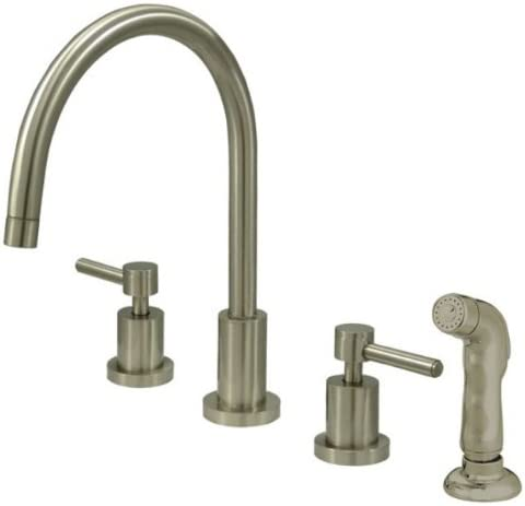 Kingston Brass KS8728DL Concord Widespread Kitchen Faucet with Sprayer, 8 , Brushed Nickel