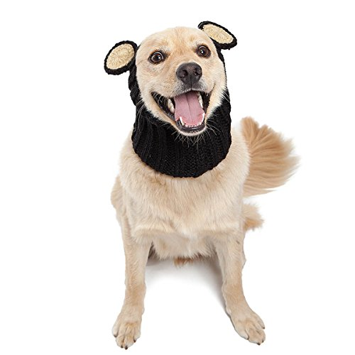 Zoo Snoods Black Bear Dog Costume - Neck and Ear Warmer Headband Protector -