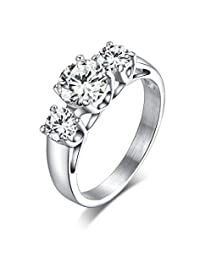 Womens Stainless Steel Engagement Ring Tri-Cubic Zirconia Crystal Jewelry,6mm width,Size 5 to 9