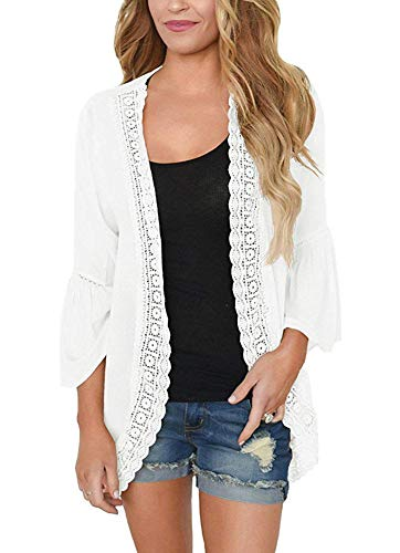 Women Summer 3/4 Sleeve Tops Blouse Relaxed Pure Color Casual Kimono Cardigan Coat White Size M