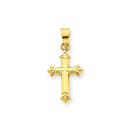 14ct Yellow Gold Solid Flat back Polished back First Holy Communion Cross Pendant 42b9I39hdr