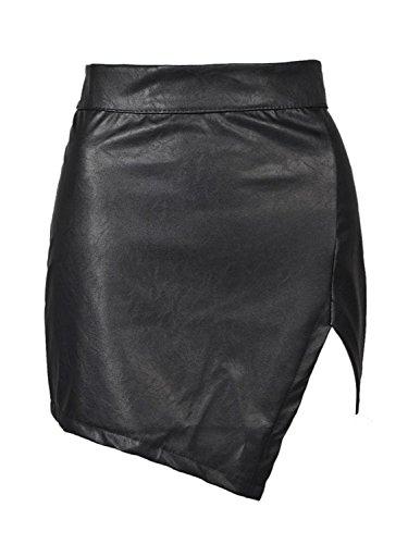 Choies Women Choies Women's Cut Out Mid Waist Black Mini Asymmetric Hem PU Skirt XL L