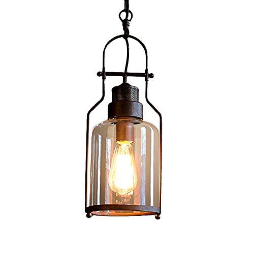 Jeffrien Vintage Rustic Pendant Light, Retro Industrial Minimalist Rust Metal Ceiling Lamp Hanging Lighting Fixture with Antique Finish for Restaurant Loft Club Bedroom Coffee - Castle Pendant Lighting